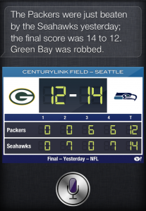 Siri GreenBay Packers Seattle Seahawks
